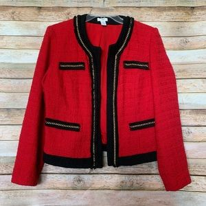 Chico Red Tweed Jacket with Gold Chain Accents - 2